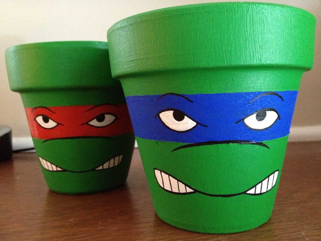 Custom TMNT Flower Pots